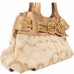 Coach Gold/Beige Fabric And Leather Op Art Satchel 238361