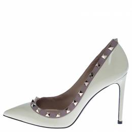 Valentino White Patent Leather Rockstud Pointed Toe Pumps Size 38 238156