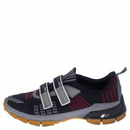 Prada Multicolor Knit Fabric And Leather Trim Sneakers Size 42 238151