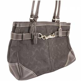 Coach Black Signature Canvas And Leather Tote Bag 238379