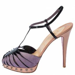 Christian Louboutin Grey Suede And Black Patent Leather Spike T Strap Platform Sandals Size 40 237375