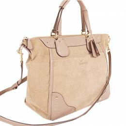 Coach Beige Suede And Leather Tote 238358