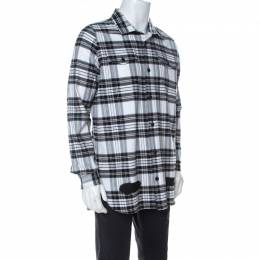 Off-White Monochrome Checked Cotton Spray Paint Detail Shirt S 238433