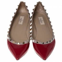 Valentino Red Patent Leather Rockstud Ballet Flats Size 41 236009