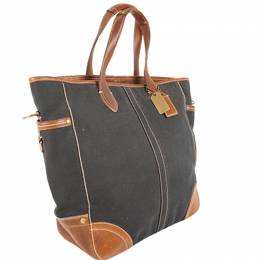Coach Black/Brown Leatehr And Canvas Tote 238380