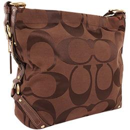 Coach Brown Signature Canvas Shoulder Bag 238382