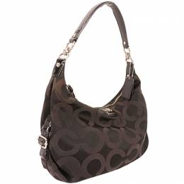 Coach Brown Canvas Op Art Shoulder Bag 238386