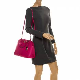 Coach Neon Pink Leather Prince Street Satchel 234640