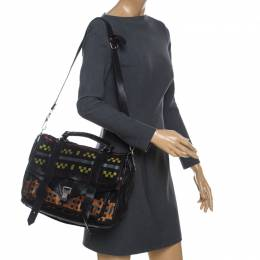 Proenza Schouler Black Fabric and Leather Large PS1 Top Handle Bag