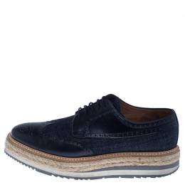 Prada Blue Denim And Brogue Leather Espadrille Derby Sneakers Size 42.5