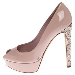 Dior Pink Patent Leather Peep Toe Cannage Heel Platform Pumps Size 38 238070