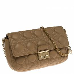 Dior Nude Beige Cannage Leather Miss Dior Small Flap Chain Bag 238555