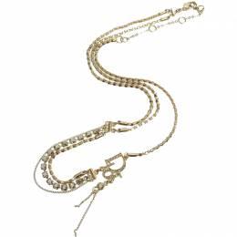 Dior Rhinestone Gold Tone Metal Pendant Necklace 238818