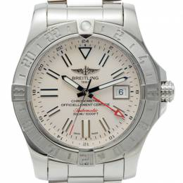 Breitling Silver Dial Avenger Ii Gmt Stainless Steel Men'S Watch 43MM 239566