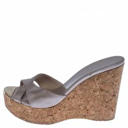 Jimmy Choo Beige Leather Perfume Cork Wedge Platform Sandals Size 38