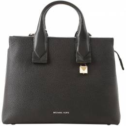 MICHAEL Michael Kors Black Pebbled Leather Large Rollins Satchel Bag