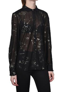 Черная блуза с золотистым узором Patrizia Pepe 1748161143