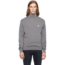 Maison Kitsune Grey Fox Head Turtleneck Sweater 192389M20500302GB