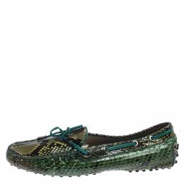 Tod's Green/Black Python Gommino Bow Loafers Size 38.5 Tod's