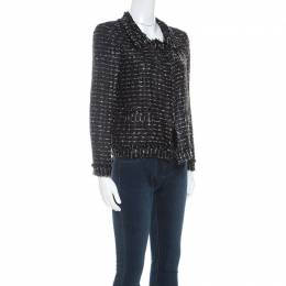 Oscar De La Renta Black Tweed Blazer M