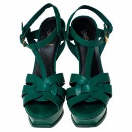 Saint Laurent Paris Green Leather Tribute Platform Sandals Size 39.5 237253