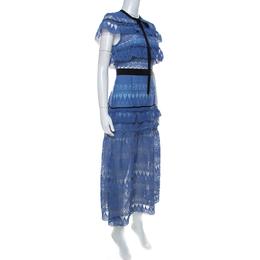 Self-portrait Blue Teardrop Guipure Lace Ruffled Daphne Midi Dress L