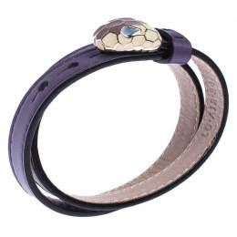 Bvlgari Serpenti Forever Enamel Purple Double Coiled Leather Gold Plated Bracelet