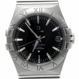 Omega Black Dial Constellation Automatic Open Back Case Watch 35MM