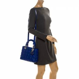 Dior Blue Cannage Leather Large Lady Dior Tote 234954
