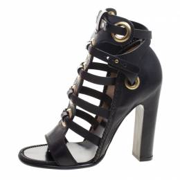 Salvatore Ferragamo Black Leather Shyla Gladiator Sandals Size 38.5 234763