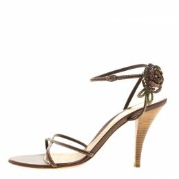 Sergio Rossi Brown Leather Rose Embellished Ankle Wrap Sandals Size 41