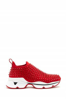 Бело-красные кроссовки с шипами Spike Sock Donna Christian Louboutin 106161733