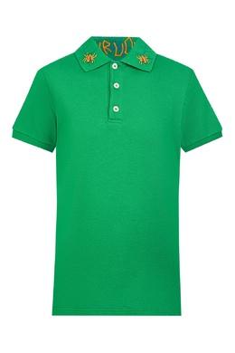 Зеленое поло с вышивкой Gucci Kids 1256161946