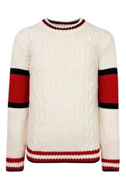 Белый свитер с цветными узорами Gucci Kids 1256161968