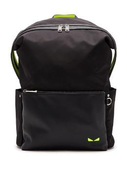 Черный рюкзак с неоново-желтой отделкой Fendi 1632162502