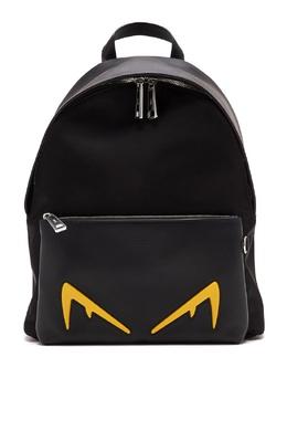 Черный рюкзак с желтой отделкой Fendi 1632162503
