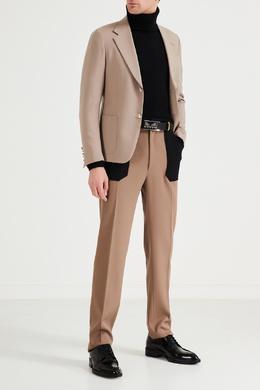 Черно-бежевые шерстяные брюки Fendi 1632162497
