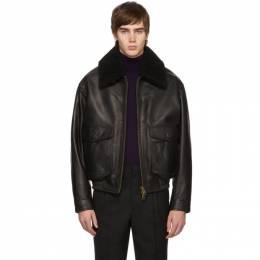 Ami Alexandre Mattiussi Black Shearling Grained Jacket 192482M18100103GB