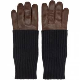 Ami Alexandre Mattiussi Brown Leather Gloves 192482M13500201GB