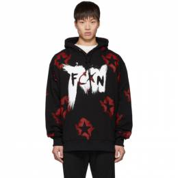 Faith Connexion Black FCXN Star Painted Hoodie 192848M20200802GB