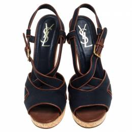 Yves Saint Laurent Blue Canvas Deauville Cork Wedge Slingback Sandals Size 40 239924