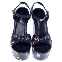 Saint Laurent Black Floral Leather Betty Wedge Platform Ankle Strap Sandals Size 39 238486