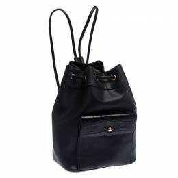 Gianfranco Ferre Black PVC and Crocodile Embossed Leather Pocket Drawstring Sling Bag 234645