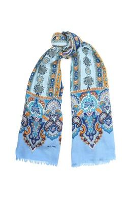 Голубой шарф с узором Etro 907161983