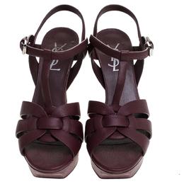 Saint Laurent Burgundy Leather Tribute Ankle Strap Sandals Size 37 240950