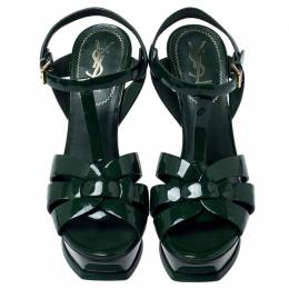 Yves Saint Laurent Green Patent Leather Tribute Sandals Size 39 240356