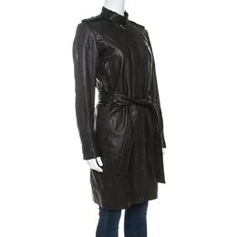 Dior Black Lambskin Belted Long Coat S 237986