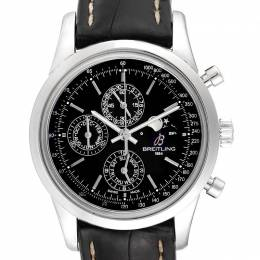 Breitling Black Leather and Stainless Steel Transocean Chronograph Moonphase A19310 Men's Wristwatch 43MM 240072