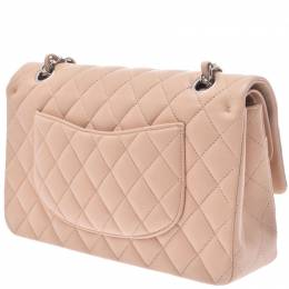 Chanel Beige Lambskin Leather Matrasse Chain Shoulder Bag 239733