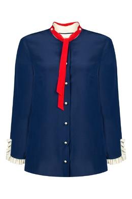 Синяя шелковая блуза с контрастной отделкой Gucci 470162454